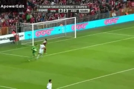 به توپ بسته شدن دروازه دانمارک در پارکن استادیوم شهر کپنهاگ مقابل ارمنستان در مرحله مقدماتی جام جهانی 2014