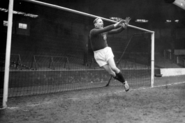 Recently-crowned Footballer of the Year, Bert Trautmann warms up at Maine Road a few days before the FA Cup Final against Birmingham at Wembley, 1956