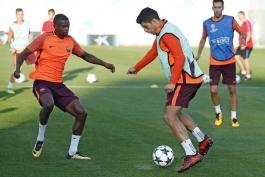FC Barcelona - UCL - لیگ قهرمانان اروپا - تمرین بارسلونا - Nelson Semedo - Luis Suarez