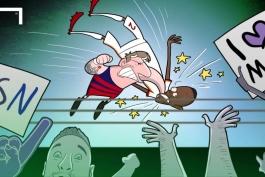 """کاریکاتور روز """" ضربه مسی به مدافع رم """" یانگا-میبوا"""""""