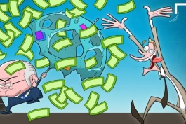 """کاریکاتور روز : پرواز دلارهای """" لی نیلسون """" بر فراز سر"""" بلاتر """""""
