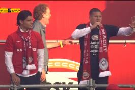 ویدیو؛ خوش حالی عجیب بروما و کریم رکیک در جمع هواداران PSV