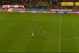 گل دقایق پایانی سوئد به فرانسه از میانه میدان (سوئد 2-1 فرانسه)