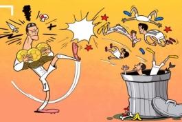هم تیمی های رونالدو در سطل زباله !