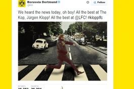 دورتموند به سبک بیتل ها حضور کلوپ در لیورپول را تبریک گفت (عکس)