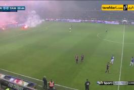 ویدیو؛ توقف دربی جنوا به دلیل آتش بازی هواداران