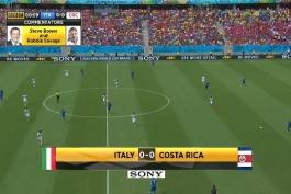 خلاصه HD بازی ایتالیا 0 - 1 کاستاریکا