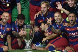 گزارش تصویری: جشن قهرمانی بارسلونا در سوپرکاپ اروپا