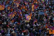 -شهر بارسلون-لالیگا-کوپا دل ری-دوگانه اسپانیا- آندرس اینیستا-طرفداران بارسلونا-جشن قهرمانی در خیابان